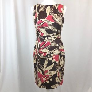 David Meister 100% silk floral midi sheath dress